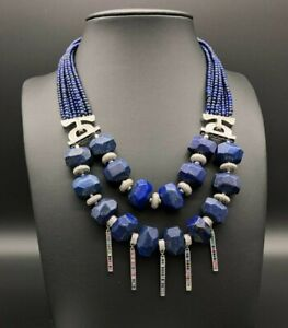 Lux Statement Necklace with Natural Lapis Lazuli