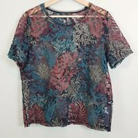 [ ZARA ] Womens Short Sleeves Lace Blouse Top | Size XL or AU 16 / US 12