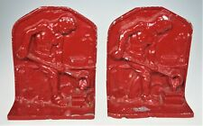 Iron Worker Smelter Foundry Forge Early American Man Red Bookends