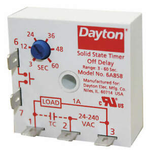 DAYTON 6A858 Encapsulated Timing Relay,24 to240VAC,1A