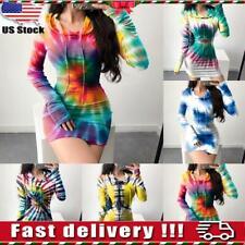 Womens Tie Dye Long Sleeve Hooded Sweatshirt Dress Bodycon Mini Jumper Tops S-XL