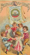 1870's-80's Standard Tip Shoes Adorable Children Dancing Around Banner P41