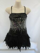 Black Silver Sequin Feather Dress Tap Jazz MT Dance Costume Large Child LC