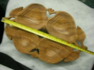 Hand Carved Wooden Savory Bowl, carved from one piece of wood. Folds flat