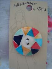 Card Belle Buttons by Dritz Multi Colour Round  Wood Laminate