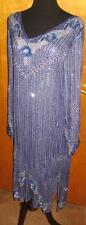 Vtg 80s Blue Sequin Beaded Glam Flapper V Neck Dress M
