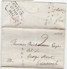 * 1832 CURVED CURRIE P P O COL GEORGE SCOTT LETTER MALLENY DAMHEAD WATER LEVEL
