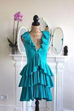 BNWT Temperley London Cashmere Silk Jersey Tiered Dress 12 14 L Blue RRP580 -70%