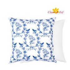 Clayre & Eef Kissenbezug Kissenhülle Kissen 45x45cm Blau Weiß Blumen Vögel