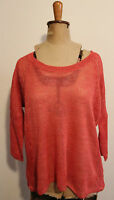 SPORTSCRAFT ~ Coral Linen Relaxed Fit Blousson Top Sweater Jumper XS (10 12)