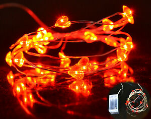 20 LED Battery Operated Red Love Heart Shaped Fairy String Lights Silver Wire