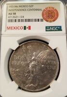 1921 MEXICO SILVER 2 PESOS INDEPENDENCE CENTENNIAL NGC AU 58 WINGED LIBERTY !!!