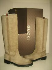 NEW GUCCI US 9.5 EU 40 Gray Suede Leather Logo Pull On Knee-High Ridding Boots
