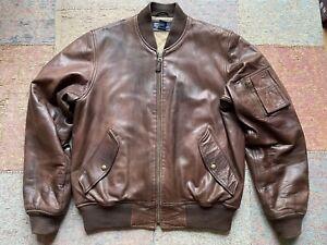 Polo Ralph Lauren Ultra Soft Leather Flight Jacket Type MA-1 Sz M Army WW2 Rare