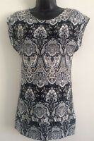 Ex High-street: Black Multi Paisley Print Casual Day Work Blouse Top Size 8-16