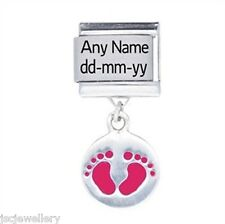 Silver Baby Girl NAME DATE Personalised Daisy Italian charm fit classic bracelet