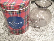 "Caithness 5"" Glass Vase Clear with engraved castle in a Tartan Tin"