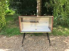 Mid century mahogany veneer gold trim bar drink trolley