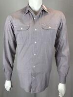 Mens Hart Schaffner Marx Medium Double-Breasted Gray Tight Plaid Cotton Shirt
