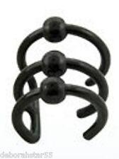FAKE Ear pierce Cheat Black Goth Punk 3 Ring Ball Helix Ear Cuff Earcuff Wrap