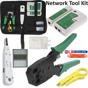 Ethernet Network RJ45 Cat5e Cat6 Cable Tester Crimping Punch Tool 10x Connectors