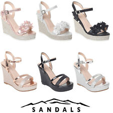 WOMENS LADIES WEDGE SANDALS STRAPY HEELS ESPADRILLES PLATFORM SUMMER PARTY SHOES