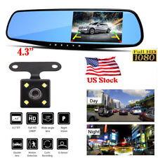 1080P Dual Lens 4.3'' Car Auto Dvr Mirror Dash Cam Recorder+Rear View Camera Kit