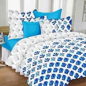 White,Blue -100% Cotton King Size 1 Bedsheet + 2 Pillow Covers, 9ft x 9ft, 144tc