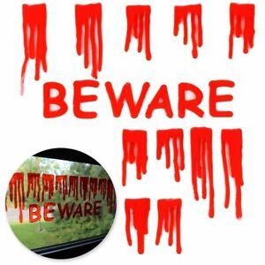 Halloween Gel Windows Stickers BLOODY 'BEWARE' Reusable Horror Party Mirror DOOR