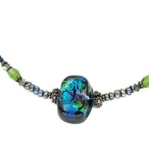 Artisan Sterling Silver Toggle Beaded Colorful Foil Art Glass Pearl Necklace 925