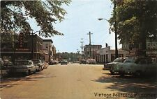 ALEXANDRIA BAY NY 1959 Looking West on James Street with Old Cars & Stores GEM++