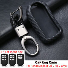 Car Carbon Fiber Key Fob Case Cover Accessories For Honda Accord CR-V HR-V Civic