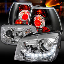 For 99-04 VW Jetta Chrome R8 LED Projector Headlights+Black Tail Lamps