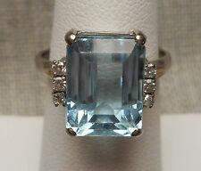 Vintage 14K White Gold Ring w/ 5 Carat Emerald Cut Aquamarine & Diamonds Size 7