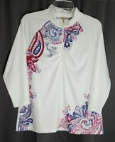 Chicos Zenergy Size 2 Top Shirt Half Zip 3/4 Sleeve White Blue Pink Paisley NWT