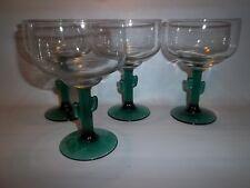 4 Libbey Rock Sharpe Cactus Martini Margarita Glasses Green Stems