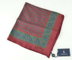 New Polo Ralph Lauren Silk Handkerchief Pocket Square Handmade in Italy