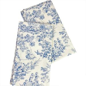 Country Curtains Blue and White French Country Toile 2 Panels 100% Cotton