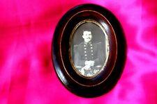 ancien cadre ovale verre plat Napoleon 3 cerclage laiton 15 x11.5, photo soldat