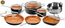 Pots & Pans Set Nonstick Cookware Strainer w/ Lids 12 Piece Gotham Steel New