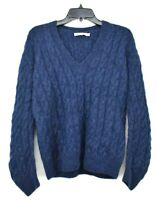 Vince Womens Cable Knit V Neck Sweater Long Sleeves Ribbed Trim Alpaca XS $385