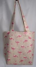 Handmade  Pink Flamingo and Hearts Tote Shopping Book Bag - Linen - Perfect Gift