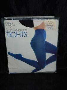 Vintage 80s Montgomery Ward S Black Run Resistant Tights Stretch Nylon NEW NIP S
