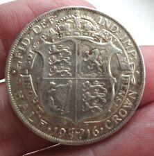 1916 King Geroge V Silver Half Crown Very Nice Grade