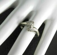 Vintage Solid 10K White Gold Ring Genuine Diamond Cocktail Womens Jewelry 6.5