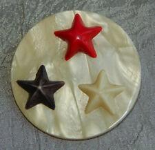 "Antique Vintage Celluloid Button Red White Blue Stars Aprx:1-3/4""~#1025-B"