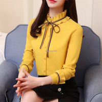 New Women Lace Up Button Down Long Sleeve Office Work Business Shirt Blouse Tops