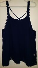 GUESS Kids Dark Blue Spaghetti Strap Loose Gauze Tank Top Lace Trim Small S 7-8