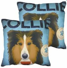 Set of 2 Cotton Linen Canvas Home Decorative Pillow Case 17x17 inches COLLIE DOG