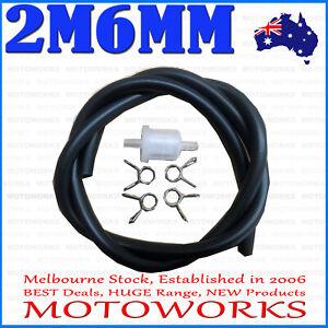 2 Meter 6mm Fuel Petrol Line Hose Filter CLIP PIT Trail Quad Dirt Bike ATV Buggy